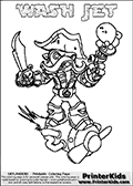 Printable and online colorable page for Skylanders Swap Force fans with the combination figure called WASH JET. WASH JET must be made by combining parts from other Skylanders Swap Force characters! WASH JET is drawn with the upper part of the WASH BUCKLER Skylander and the lower part of the BOOM JET Skylander, the part used from each Skylander is used in the new skylanders name. In this coloring page, the WASH JET skylander can be colored completely. The colouring page is drawn with a very thick line making it ideal for the youngest Skylanders Swap Force fans. The downside of the thick line is that some detail areas become unavailable for coloring. The coloring page has a colorable text with the WASH JET letters as well. Print and color this Skylanders Swap Force WASH JET coloring book page that is drawn and made available by Loke Hansen (http://www.LokeHansen.com) based on the original artwork of the Skylanders characters from the Skylanders Swap Force website. Be sure to check the two other variants of this coloring page for more line width options.