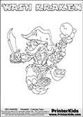 Printable WASH KRAKEN online colorable Skylanders Swap Force page. This coloring page can be printed or colored online! The sheet show the combination skylander WASH KRAKEN that has to be made by combining parts from other Skylanders Swap Force characters! WASH KRAKEN is drawn with the upper part of the WASH BUCKLER Skylander and the lower part of the FIRE KRAKEN Skylander. In this coloring page, the WASH KRAKEN skylander can be colored in full - as a complete skylander. The colouring page is drawn with a super thin line and has a colorable text with the WASH KRAKEN letters as well. Print and color this Skylanders Swap Force WASH KRAKEN coloring book page that is drawn and made available by Loke Hansen (http://www.LokeHansen.com) based on the original artwork of the Skylanders characters from the Skylanders Swap Force website. This coloring page variant has the highest amount of detail areas due to the thin drawing line used. Be sure to check the two other variants of this coloring page for more stroke (the line used to draw the WASH KRAKEN with) options.