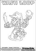 Printable WASH LOOP online colorable Skylanders Swap Force page. This coloring page can be printed or colored online! The sheet show the combination skylander WASH LOOP that has to be made by combining parts from other Skylanders Swap Force characters! WASH LOOP is drawn with the upper part of the WASH BUCKLER Skylander and the lower part of the HOOT LOOP Skylander. In this coloring page, the WASH LOOP skylander can be colored in full - as a complete skylander. The colouring page is drawn with a super thin line and has a colorable text with the WASH LOOP letters as well. Print and color this Skylanders Swap Force WASH LOOP coloring book page that is drawn and made available by Loke Hansen (http://www.LokeHansen.com) based on the original artwork of the Skylanders characters from the Skylanders Swap Force website. This coloring page variant has the highest amount of detail areas due to the thin drawing line used. Be sure to check the two other variants of this coloring page for more stroke (the line used to draw the WASH LOOP with) options.
