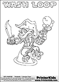 Skylanders Swap Force coloring page with WASH LOOP. The WASH LOOP Skylander figure cannot be bought as it is, it must be made by combining parts from WASH BUCKLER and HOOT LOOP! WASH LOOP is drawn with the upper part of the WASH BUCKLER Skylander and the lower part of the HOOT LOOP Skylander. In this coloring page, the WASH LOOP skylander can be colored completely. The colouring page is drawn with a thin shaded line and has a colorable text with the WASH LOOP letters as well. Print and color this Skylanders Swap Force WASH LOOP coloring book page that is drawn and made available by Loke Hansen (http://www.LokeHansen.com) based on the original artwork of the Skylanders characters from the Skylanders Swap Force website. This line variant is the -editors choice- where detail areas and line appearance are in best balance. Be sure to check the two other variants of this coloring page for more stroke (the line used to draw the WASH LOOP with) options.