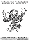 Printable and online colorable page for Skylanders Swap Force fans with the combination figure called WASH LOOP. WASH LOOP must be made by combining parts from other Skylanders Swap Force characters! WASH LOOP is drawn with the upper part of the WASH BUCKLER Skylander and the lower part of the HOOT LOOP Skylander, the part used from each Skylander is used in the new skylanders name. In this coloring page, the WASH LOOP skylander can be colored completely. The colouring page is drawn with a very thick line making it ideal for the youngest Skylanders Swap Force fans. The downside of the thick line is that some detail areas become unavailable for coloring. The coloring page has a colorable text with the WASH LOOP letters as well. Print and color this Skylanders Swap Force WASH LOOP coloring book page that is drawn and made available by Loke Hansen (http://www.LokeHansen.com) based on the original artwork of the Skylanders characters from the Skylanders Swap Force website. Be sure to check the two other variants of this coloring page for more line width options.