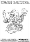 Skylanders Swap Force coloring page with WASH RANGER. The WASH RANGER Skylander figure cannot be bought as it is, it must be made by combining parts from WASH BUCKLER and FREE RANGER! WASH RANGER is drawn with the upper part of the WASH BUCKLER Skylander and the lower part of the FREE RANGER Skylander. In this coloring page, the WASH RANGER skylander can be colored completely. The colouring page is drawn with a thin shaded line and has a colorable text with the WASH RANGER letters as well. Print and color this Skylanders Swap Force WASH RANGER coloring book page that is drawn and made available by Loke Hansen (http://www.LokeHansen.com) based on the original artwork of the Skylanders characters from the Skylanders Swap Force website. This line variant is the -editors choice- where detail areas and line appearance are in best balance. Be sure to check the two other variants of this coloring page for more stroke (the line used to draw the WASH RANGER with) options.