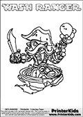 Printable and online colorable page for Skylanders Swap Force fans with the combination figure called WASH RANGER. WASH RANGER must be made by combining parts from other Skylanders Swap Force characters! WASH RANGER is drawn with the upper part of the WASH BUCKLER Skylander and the lower part of the FREE RANGER Skylander, the part used from each Skylander is used in the new skylanders name. In this coloring page, the WASH RANGER skylander can be colored completely. The colouring page is drawn with a very thick line making it ideal for the youngest Skylanders Swap Force fans. The downside of the thick line is that some detail areas become unavailable for coloring. The coloring page has a colorable text with the WASH RANGER letters as well. Print and color this Skylanders Swap Force WASH RANGER coloring book page that is drawn and made available by Loke Hansen (http://www.LokeHansen.com) based on the original artwork of the Skylanders characters from the Skylanders Swap Force website. Be sure to check the two other variants of this coloring page for more line width options.