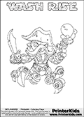 Printable WASH RISE online colorable Skylanders Swap Force page. This coloring page can be printed or colored online! The sheet show the combination skylander WASH RISE that has to be made by combining parts from other Skylanders Swap Force characters! WASH RISE is drawn with the upper part of the WASH BUCKLER Skylander and the lower part of the SPY RISE Skylander. In this coloring page, the WASH RISE skylander can be colored in full - as a complete skylander. The colouring page is drawn with a super thin line and has a colorable text with the WASH RISE letters as well. Print and color this Skylanders Swap Force WASH RISE coloring book page that is drawn and made available by Loke Hansen (http://www.LokeHansen.com) based on the original artwork of the Skylanders characters from the Skylanders Swap Force website. This coloring page variant has the highest amount of detail areas due to the thin drawing line used. Be sure to check the two other variants of this coloring page for more stroke (the line used to draw the WASH RISE with) options.
