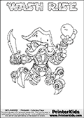 Skylanders Swap Force coloring page with WASH RISE. The WASH RISE Skylander figure cannot be bought as it is, it must be made by combining parts from WASH BUCKLER and SPY RISE! WASH RISE is drawn with the upper part of the WASH BUCKLER Skylander and the lower part of the SPY RISE Skylander. In this coloring page, the WASH RISE skylander can be colored completely. The colouring page is drawn with a thin shaded line and has a colorable text with the WASH RISE letters as well. Print and color this Skylanders Swap Force WASH RISE coloring book page that is drawn and made available by Loke Hansen (http://www.LokeHansen.com) based on the original artwork of the Skylanders characters from the Skylanders Swap Force website. This line variant is the -editors choice- where detail areas and line appearance are in best balance. Be sure to check the two other variants of this coloring page for more stroke (the line used to draw the WASH RISE with) options.
