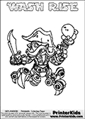 Printable and online colorable page for Skylanders Swap Force fans with the combination figure called WASH RISE. WASH RISE must be made by combining parts from other Skylanders Swap Force characters! WASH RISE is drawn with the upper part of the WASH BUCKLER Skylander and the lower part of the SPY RISE Skylander, the part used from each Skylander is used in the new skylanders name. In this coloring page, the WASH RISE skylander can be colored completely. The colouring page is drawn with a very thick line making it ideal for the youngest Skylanders Swap Force fans. The downside of the thick line is that some detail areas become unavailable for coloring. The coloring page has a colorable text with the WASH RISE letters as well. Print and color this Skylanders Swap Force WASH RISE coloring book page that is drawn and made available by Loke Hansen (http://www.LokeHansen.com) based on the original artwork of the Skylanders characters from the Skylanders Swap Force website. Be sure to check the two other variants of this coloring page for more line width options.