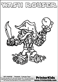 Printable and online colorable page for Skylanders Swap Force fans with the combination figure called WASH ROUSER. WASH ROUSER must be made by combining parts from other Skylanders Swap Force characters! WASH ROUSER is drawn with the upper part of the WASH BUCKLER Skylander and the lower part of the RUBBLE ROUSER Skylander, the part used from each Skylander is used in the new skylanders name. In this coloring page, the WASH ROUSER skylander can be colored completely. The colouring page is drawn with a very thick line making it ideal for the youngest Skylanders Swap Force fans. The downside of the thick line is that some detail areas become unavailable for coloring. The coloring page has a colorable text with the WASH ROUSER letters as well. Print and color this Skylanders Swap Force WASH ROUSER coloring book page that is drawn and made available by Loke Hansen (http://www.LokeHansen.com) based on the original artwork of the Skylanders characters from the Skylanders Swap Force website. Be sure to check the two other variants of this coloring page for more line width options.