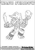 Printable WASH SHADOW online colorable Skylanders Swap Force page. This coloring page can be printed or colored online! The sheet show the combination skylander WASH SHADOW that has to be made by combining parts from other Skylanders Swap Force characters! WASH SHADOW is drawn with the upper part of the WASH BUCKLER Skylander and the lower part of the TRAP SHADOW Skylander. In this coloring page, the WASH SHADOW skylander can be colored in full - as a complete skylander. The colouring page is drawn with a super thin line and has a colorable text with the WASH SHADOW letters as well. Print and color this Skylanders Swap Force WASH SHADOW coloring book page that is drawn and made available by Loke Hansen (http://www.LokeHansen.com) based on the original artwork of the Skylanders characters from the Skylanders Swap Force website. This coloring page variant has the highest amount of detail areas due to the thin drawing line used. Be sure to check the two other variants of this coloring page for more stroke (the line used to draw the WASH SHADOW with) options.