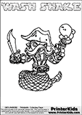 Printable and online colorable page for Skylanders Swap Force fans with the combination figure called WASH SHAKE. WASH SHAKE must be made by combining parts from other Skylanders Swap Force characters! WASH SHAKE is drawn with the upper part of the WASH BUCKLER Skylander and the lower part of the RATTLE SHAKE Skylander, the part used from each Skylander is used in the new skylanders name. In this coloring page, the WASH SHAKE skylander can be colored completely. The colouring page is drawn with a very thick line making it ideal for the youngest Skylanders Swap Force fans. The downside of the thick line is that some detail areas become unavailable for coloring. The coloring page has a colorable text with the WASH SHAKE letters as well. Print and color this Skylanders Swap Force WASH SHAKE coloring book page that is drawn and made available by Loke Hansen (http://www.LokeHansen.com) based on the original artwork of the Skylanders characters from the Skylanders Swap Force website. Be sure to check the two other variants of this coloring page for more line width options.