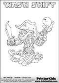 Printable WASH SHIFT online colorable Skylanders Swap Force page. This coloring page can be printed or colored online! The sheet show the combination skylander WASH SHIFT that has to be made by combining parts from other Skylanders Swap Force characters! WASH SHIFT is drawn with the upper part of the WASH BUCKLER Skylander and the lower part of the NIGHT SHIFT Skylander. In this coloring page, the WASH SHIFT skylander can be colored in full - as a complete skylander. The colouring page is drawn with a super thin line and has a colorable text with the WASH SHIFT letters as well. Print and color this Skylanders Swap Force WASH SHIFT coloring book page that is drawn and made available by Loke Hansen (http://www.LokeHansen.com) based on the original artwork of the Skylanders characters from the Skylanders Swap Force website. This coloring page variant has the highest amount of detail areas due to the thin drawing line used. Be sure to check the two other variants of this coloring page for more stroke (the line used to draw the WASH SHIFT with) options.