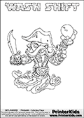 Skylanders Swap Force coloring page with WASH SHIFT. The WASH SHIFT Skylander figure cannot be bought as it is, it must be made by combining parts from WASH BUCKLER and NIGHT SHIFT! WASH SHIFT is drawn with the upper part of the WASH BUCKLER Skylander and the lower part of the NIGHT SHIFT Skylander. In this coloring page, the WASH SHIFT skylander can be colored completely. The colouring page is drawn with a thin shaded line and has a colorable text with the WASH SHIFT letters as well. Print and color this Skylanders Swap Force WASH SHIFT coloring book page that is drawn and made available by Loke Hansen (http://www.LokeHansen.com) based on the original artwork of the Skylanders characters from the Skylanders Swap Force website. This line variant is the -editors choice- where detail areas and line appearance are in best balance. Be sure to check the two other variants of this coloring page for more stroke (the line used to draw the WASH SHIFT with) options.