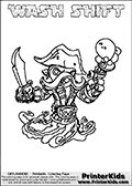 Printable and online colorable page for Skylanders Swap Force fans with the combination figure called WASH SHIFT. WASH SHIFT must be made by combining parts from other Skylanders Swap Force characters! WASH SHIFT is drawn with the upper part of the WASH BUCKLER Skylander and the lower part of the NIGHT SHIFT Skylander, the part used from each Skylander is used in the new skylanders name. In this coloring page, the WASH SHIFT skylander can be colored completely. The colouring page is drawn with a very thick line making it ideal for the youngest Skylanders Swap Force fans. The downside of the thick line is that some detail areas become unavailable for coloring. The coloring page has a colorable text with the WASH SHIFT letters as well. Print and color this Skylanders Swap Force WASH SHIFT coloring book page that is drawn and made available by Loke Hansen (http://www.LokeHansen.com) based on the original artwork of the Skylanders characters from the Skylanders Swap Force website. Be sure to check the two other variants of this coloring page for more line width options.