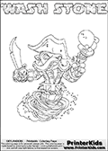 Printable WASH STONE online colorable Skylanders Swap Force page. This coloring page can be printed or colored online! The sheet show the combination skylander WASH STONE that has to be made by combining parts from other Skylanders Swap Force characters! WASH STONE is drawn with the upper part of the WASH BUCKLER Skylander and the lower part of the DOOM STONE Skylander. In this coloring page, the WASH STONE skylander can be colored in full - as a complete skylander. The colouring page is drawn with a super thin line and has a colorable text with the WASH STONE letters as well. Print and color this Skylanders Swap Force WASH STONE coloring book page that is drawn and made available by Loke Hansen (http://www.LokeHansen.com) based on the original artwork of the Skylanders characters from the Skylanders Swap Force website. This coloring page variant has the highest amount of detail areas due to the thin drawing line used. Be sure to check the two other variants of this coloring page for more stroke (the line used to draw the WASH STONE with) options.