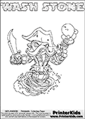 Skylanders Swap Force coloring page with WASH STONE. The WASH STONE Skylander figure cannot be bought as it is, it must be made by combining parts from WASH BUCKLER and DOOM STONE! WASH STONE is drawn with the upper part of the WASH BUCKLER Skylander and the lower part of the DOOM STONE Skylander. In this coloring page, the WASH STONE skylander can be colored completely. The colouring page is drawn with a thin shaded line and has a colorable text with the WASH STONE letters as well. Print and color this Skylanders Swap Force WASH STONE coloring book page that is drawn and made available by Loke Hansen (http://www.LokeHansen.com) based on the original artwork of the Skylanders characters from the Skylanders Swap Force website. This line variant is the -editors choice- where detail areas and line appearance are in best balance. Be sure to check the two other variants of this coloring page for more stroke (the line used to draw the WASH STONE with) options.