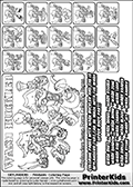 Printable Skylanders Swap Force coloring page for kids with all 16 combinations of Skylanders made with the WASH upper part. Most of the skylanders coloring figures are relatively small - but the printable colouring sheet is really fun nonetheless. Print and color this Skylanders Swap Force MASTERS WASH SWAP coloring print page that is drawn and made available by Loke Hansen (http://www.LokeHansen.com) based on the original artwork of the Skylanders characters from the Skylanders Swap Force website. This coloring page variant was originally designed as a coloring page section teaser for the PrinterKids website - but my own kids just loved it so much I turned it into a coloring page others could print as well! The Skylanders combinations show here for coloring are: WASH ZONE, WASH JET, WASH STONE, WASH KRAKEN, WASH RANGER, WASH BLADE, WASH DRILLA, WASH LOOP, WASH CHARGE, WASH SHIFT, WASH SHAKE, WASH ROUSER, WASH RISE, WASH BOMB, WASH SHADOW and WASH BUCKLER.