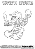 Printable WASH ZONE online colorable Skylanders Swap Force page. This coloring page can be printed or colored online! The sheet show the combination skylander WASH ZONE that has to be made by combining parts from other Skylanders Swap Force characters! WASH ZONE is drawn with the upper part of the WASH BUCKLER Skylander and the lower part of the BLAST ZONE Skylander. In this coloring page, the WASH ZONE skylander can be colored in full - as a complete skylander. The colouring page is drawn with a super thin line and has a colorable text with the WASH ZONE letters as well. Print and color this Skylanders Swap Force WASH ZONE coloring book page that is drawn and made available by Loke Hansen (http://www.LokeHansen.com) based on the original artwork of the Skylanders characters from the Skylanders Swap Force website. This coloring page variant has the highest amount of detail areas due to the thin drawing line used. Be sure to check the two other variants of this coloring page for more stroke (the line used to draw the WASH ZONE with) options.