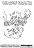 Skylanders Swap Force coloring page with WASH ZONE. The WASH ZONE Skylander figure cannot be bought as it is, it must be made by combining parts from WASH BUCKLER and BLAST ZONE! WASH ZONE is drawn with the upper part of the WASH BUCKLER Skylander and the lower part of the BLAST ZONE Skylander. In this coloring page, the WASH ZONE skylander can be colored completely. The colouring page is drawn with a thin shaded line and has a colorable text with the WASH ZONE letters as well. Print and color this Skylanders Swap Force WASH ZONE coloring book page that is drawn and made available by Loke Hansen (http://www.LokeHansen.com) based on the original artwork of the Skylanders characters from the Skylanders Swap Force website. This line variant is the -editors choice- where detail areas and line appearance are in best balance. Be sure to check the two other variants of this coloring page for more stroke (the line used to draw the WASH ZONE with) options.