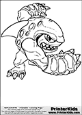 Coloring page with Terrafin from Skylanders. This Skylanders coloring page with Terrafin is designed with a Terrafin coloring figure that take up almost the entire colouring sheet