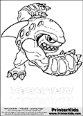 Coloring page with Terrafin from Skylanders. This Skylanders coloring page with Terrafin is designed with a Terrafin coloring figure on the top of the page, and two lines with letters below the character. The Skylanders name - Terrafin is shown on both lines with letters that have dotted lines. The Terrafin letters are blank inside so that the letters can be used for coloring or so that the actual letter can be drawn on top of the dotted lines. The top line is shown with a dark black dotted line and the bottom line of letters is shown in  light gray color so that is is harder to see.