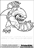 Coloring page with Terrafin from Skylanders. This Skylanders coloring page with Terrafin is designed with a Terrafin coloring figure on the top of the page, and two lines with letters below the character. SKYLANDERS is shown on both lines with letters that have dotted lines. The SKYLANDERS letters are blank inside so that the letters can be used for coloring or so they can be re-drawn with help from the dotted lines. The top line of letters is shown with a dark black dotted line, the other in a light gray color.