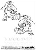 Coloring page with two Terrafin colorable characters from Skylanders. This Skylanders coloring page with Terrafin is designed with two smaller Terrafin coloring figures on the top of the page, and two lines with letters below the character. The Skylanders name - Terrafin is shown on both lines with letters that have dotted lines. The Terrafin letters are blank inside so that the letters can be used for coloring or so that the actual letter can be drawn on top of the dotted lines. The top line is shown with a dark black dotted line and the bottom line of letters is shown in  light gray color so that is is harder to see.