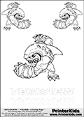 Coloring and activity page with no less than 3 x Terrafin colorable characters from Skylanders. This Skylanders coloring and activity page with Terrafin is designed with 3 Terrafin coloring figures - some tiny, some small and some medium sized on the top of the page, and two lines with letters below the character. The Skylanders name - Terrafin is shown on both lines with letters that have dotted lines. The Terrafin letters are blank inside so that the letters can be used for coloring or so that the actual letter can be drawn on top of the dotted lines. The top line is shown with a dark black dotted line and the bottom line of letters is shown in  light gray color so that is is harder to see.