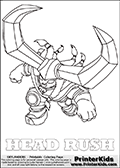 Coloring page with HEAD RUSH from the 2014 Skylanders game called Skylanders Trap Team. The Skylanders Trap Team universe offer new unique characters and completely new gaming otions with the introduction of traps! The Skylanders character in this coloring print - HEAD RUSH is a female viking-like characterwith a horned helm and many braids in her hair. This coloring page for printing show the Skylander in full. Print and color this Skylanders TRAP TEAM HEAD RUSH page that is drawn by Loke Hansen (http://www.LokeHansen.com) based on the original artwork of the Skylanders characters.