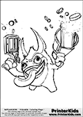 Coloring page with Trigger Happy from Skylanders. This Skylanders coloring page with Trigger Happy is designed with a Trigger Happy coloring figure that take up almost the entire colouring sheet