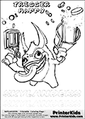 Coloring page with Trigger Happy from Skylanders. This Skylanders coloring page with Trigger Happy is designed with a Trigger Happy coloring figure on the top of the page, and with letters below the character. SKYLANDERS is shown on both lines with letters that have dotted lines. The SKYLANDERS letters are blank inside so that the letters can be used for coloring or so they can be re-drawn with help from the dotted lines. The top line of letters is shown with a dark black dotted line, the other in a light gray color.