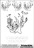 Coloring and activity page with 4 x Trigger Happy colorable characters from Skylanders. This Skylanders coloring and activity page with Trigger Happy is designed with 4 Trigger Happy coloring figures and a line with letters below the character. The Skylanders name - Trigger Happy is shown with letters that have dotted lines. The Trigger Happy letters are blank inside so that the letters can be used for coloring or so that the actual letter can be drawn on top of the dotted lines.