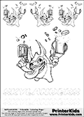 Coloring book sheet with 4 Trigger Happy colourable characters from Skylanders. This Skylanders coloring page with Trigger Happy is designed with 4 x Trigger Happy coloring figures and  letters below the characters. SKYLANDERS is shown with letters that have dotted lines. The SKYLANDERS letters are blank inside so that the letters can be used for coloring or so they can be re-drawn with help from the dotted lines.