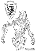 Printable colouring Star Wars sheet with the popular cyborg known as Supreme Commander Grievous.<br><br>