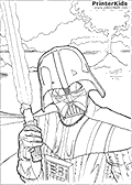 This printable Star Wars coloring page show the masked Darth Vader character standing with a lightsaber in his right hand. Darth Vader from Star Wars is drawn from the chest and up in a scene where volcanic or geyser activity can be seen in the background.