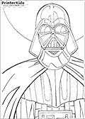 This Star Wars coloring page for printing show a close-up of Darth Vader. The sheet for coloring show Darth Vader from just about the waist and up.