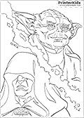 This Star Wars coloring page is a split dreamy sheet where Master Yoda appear in the upper right part of the colouring sheet and Emperor Palpatime is in the lower left part of the colouring sheet. The printable page has a dreamy look to it.