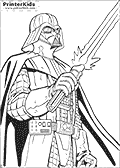 This Star Wars coloring page show Darth Vader standing tall and mighty with his lightsaber weapon just turned on. Darth Vader is drawn as if looked at from the ground and up looking very large and grim.