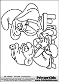 The Smurfs - Doctor Smurf Bandaging Smurfette - Coloring Page 1