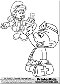 The Smurfs - Doctor Smurf and Doctor Smurfette - Coloring Page 1