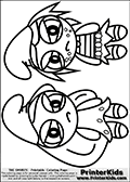 Coloring page with two Power Puff styled female Smurfs (Smurfette and Vexy). The Puffed  Smurf drawings are made so that the Smurf characters look as if they are angry, drawn with an angry mouth and the hands dwn the sides. The Smurf drawings are made very large so that they take up almost the entire A4 page making them ideal for cutting out (eg. template designs cake deccor etc.). The  Smurf colouring sheet was intended for kids to print out for coloring or for online coloring on the PrinterKids website. The Smurf Puffed activity page for kids is drawn and made available by Loke Hansen (http://www.LokeHansen.com) based on images found via a google images search.