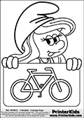 Coloring page with Smurfette (la schtroumpfette) holding an educational board with a car on it. The  Smurf colouring sheet was intended for kids to print out for coloring or for online coloring on the PrinterKids website. The  Smurf activity page for kids is drawn and made available by Loke Hansen (http://www.LokeHansen.com) based on an image found via a google images search for the term SMURF.