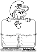 Coloring page with Smurfette (la schtroumpfette) holding an educational board with a hand on it. The board has cute flower ornaments that split the board into a display area with the symbol and two areas with lines that can be written on. The lines has a pencil symbol to their left. The idea behind this educational kids activity page was to encourage kids to practice writing. The board has no text - just the symbol so it is for advanced practice! There is a version of the kids activity page with visible words here at PrinterKids too. Chec for that option here: Educational Smurf Pages with Words if your child hasnt tried them first or is unfamiliar with the majority of letters and their sounds. The  Smurf colouring sheet was intended for kids to print out for coloring or for online coloring on the PrinterKids website. The  Smurf activity page for kids is drawn and made available by Loke Hansen (http://www.LokeHansen.com) based on an image found via a google images search for the term SMURF.