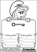 Coloring page with Smurfette (la schtroumpfette) holding an educational board with a key on it. The board has cute flower ornaments that split the board into a display area with the symbol and two areas with lines that can be written on. The lines has a pencil symbol to their left. The idea behind this educational kids activity page was to encourage kids to practice writing. The board has no text - just the symbol so it is for advanced practice! There is a version of the kids activity page with visible words here at PrinterKids too. Chec for that option here: Educational Smurf Pages with Words if your child hasnt tried them first or is unfamiliar with the majority of letters and their sounds. The  Smurf colouring sheet was intended for kids to print out for coloring or for online coloring on the PrinterKids website. The  Smurf activity page for kids is drawn and made available by Loke Hansen (http://www.LokeHansen.com) based on an image found via a google images search for the term SMURF.
