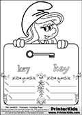 The Smurfs - Smurfette Educational Board - Key - Coloring Page 4