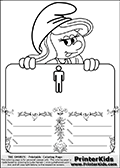 Coloring page with Smurfette (la schtroumpfette) holding an educational board with a man symbol (men,gentlemen,boys) on it. The board has cute flower ornaments that split the board into a display area with the symbol and two areas with lines that can be written on. The lines has a pencil symbol to their left. The idea behind this educational kids activity page was to encourage kids to practice writing. The board has no text - just the symbol so it is for advanced practice! There is a version of the kids activity page with visible words here at PrinterKids too. Chec for that option here: Educational Smurf Pages with Words if your child hasnt tried them first or is unfamiliar with the majority of letters and their sounds. The  Smurf colouring sheet was intended for kids to print out for coloring or for online coloring on the PrinterKids website. The  Smurf activity page for kids is drawn and made available by Loke Hansen (http://www.LokeHansen.com) based on an image found via a google images search for the term SMURF.