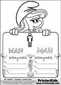 The Smurfs - Smurfette Educational Board - Man Symbol - Coloring Page 3