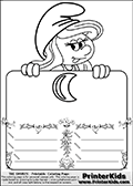 Coloring page with Smurfette (la schtroumpfette) holding an educational board with a moon on it. The board has cute flower ornaments that split the board into a display area with the symbol and two areas with lines that can be written on. The lines has a pencil symbol to their left. The idea behind this educational kids activity page was to encourage kids to practice writing. The board has no text - just the symbol so it is for advanced practice! There is a version of the kids activity page with visible words here at PrinterKids too. Chec for that option here: Educational Smurf Pages with Words if your child hasnt tried them first or is unfamiliar with the majority of letters and their sounds. The  Smurf colouring sheet was intended for kids to print out for coloring or for online coloring on the PrinterKids website. The  Smurf activity page for kids is drawn and made available by Loke Hansen (http://www.LokeHansen.com) based on an image found via a google images search for the term SMURF.