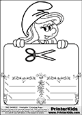 Coloring page with Smurfette (la schtroumpfette) holding an educational board with a scissor on it. The board has cute flower ornaments that split the board into a display area with the symbol and two areas with lines that can be written on. The lines has a pencil symbol to their left. The idea behind this educational kids activity page was to encourage kids to practice writing. The board has no text - just the symbol so it is for advanced practice! There is a version of the kids activity page with visible words here at PrinterKids too. Chec for that option here: Educational Smurf Pages with Words if your child hasnt tried them first or is unfamiliar with the majority of letters and their sounds. The  Smurf colouring sheet was intended for kids to print out for coloring or for online coloring on the PrinterKids website. The  Smurf activity page for kids is drawn and made available by Loke Hansen (http://www.LokeHansen.com) based on an image found via a google images search for the term SMURF.
