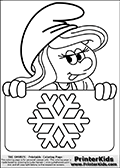 Coloring page with Smurfette (la schtroumpfette) holding an educational board with a snowflake on it. The  Smurf colouring sheet was intended for kids to print out for coloring or for online coloring on the PrinterKids website. The  Smurf activity page for kids is drawn and made available by Loke Hansen (http://www.LokeHansen.com) based on an image found via a google images search for the term SMURF.