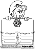 Coloring page with Smurfette (la schtroumpfette) holding an educational board with a snowflake on it. The board has cute flower ornaments that split the board into a display area with the symbol and two areas with lines that can be written on. The lines has a pencil symbol to their left. The idea behind this educational kids activity page was to encourage kids to practice writing. The board has no text - just the symbol so it is for advanced practice! There is a version of the kids activity page with visible words here at PrinterKids too. Chec for that option here: Educational Smurf Pages with Words if your child hasnt tried them first or is unfamiliar with the majority of letters and their sounds. The  Smurf colouring sheet was intended for kids to print out for coloring or for online coloring on the PrinterKids website. The  Smurf activity page for kids is drawn and made available by Loke Hansen (http://www.LokeHansen.com) based on an image found via a google images search for the term SMURF.