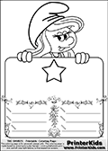 Coloring page with Smurfette (la schtroumpfette) holding an educational board with a star on it. The board has cute flower ornaments that split the board into a display area with the symbol and two areas with lines that can be written on. The lines has a pencil symbol to their left. The idea behind this educational kids activity page was to encourage kids to practice writing. The board has no text - just the symbol so it is for advanced practice! There is a version of the kids activity page with visible words here at PrinterKids too. Chec for that option here: Educational Smurf Pages with Words if your child hasnt tried them first or is unfamiliar with the majority of letters and their sounds. The  Smurf colouring sheet was intended for kids to print out for coloring or for online coloring on the PrinterKids website. The  Smurf activity page for kids is drawn and made available by Loke Hansen (http://www.LokeHansen.com) based on an image found via a google images search for the term SMURF.